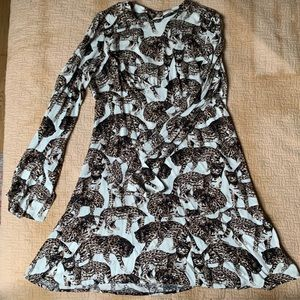leopard print cat print bell sleeve a line dress